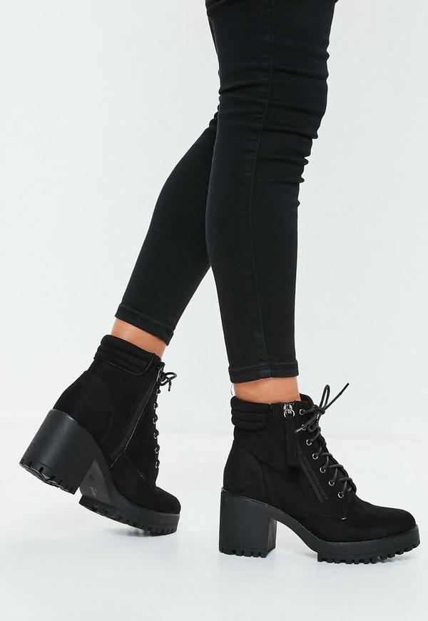 Black Mid Heel Cleated Hook And Eye Ankle Boots by Missguided