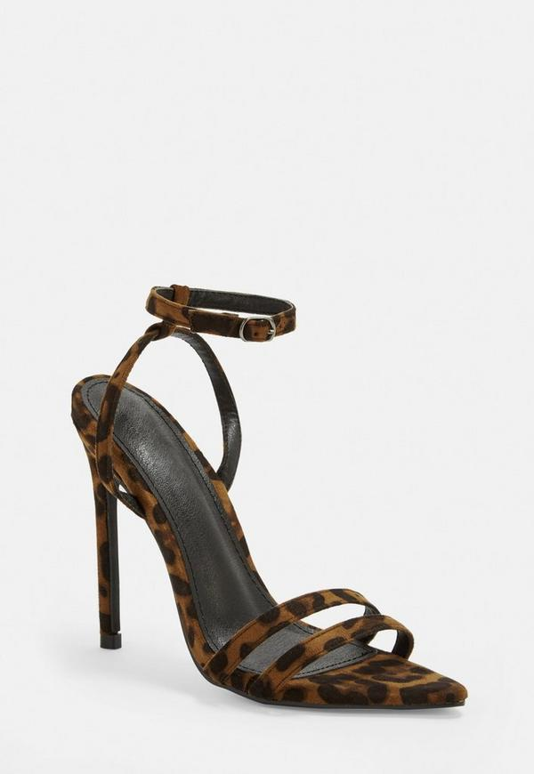 b1946d44360 Brown Leopard Print Point Toe Barely There Heels