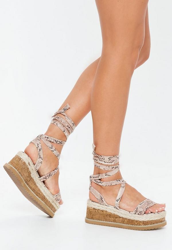 4d28eccd9cf7 Grey Snake Print Flatform Lace Up Espadrille Sandals