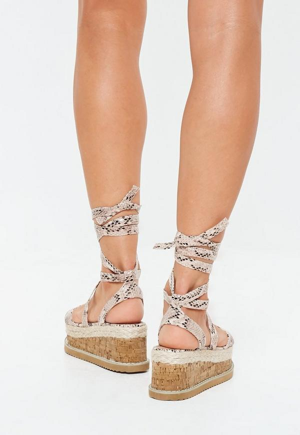 88b271a45d5b ... Grey Snake Print Flatform Lace Up Espadrille Sandals. Previous Next