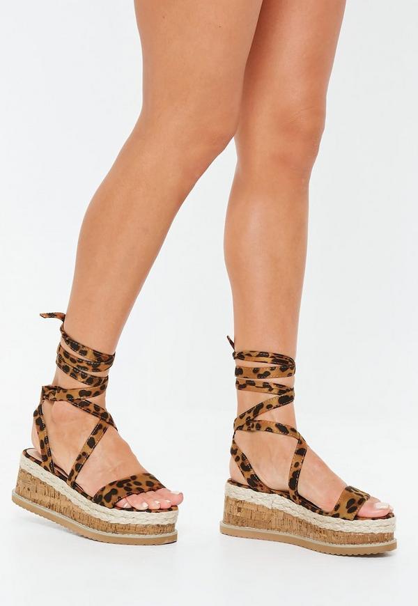 f012bec41954 Leopard Print Flatform Lace Up Espadrille Sandals