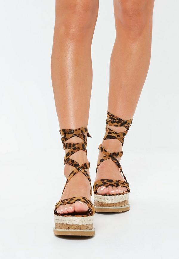 5f92bd61fca6 Leopard Print Flatform Lace Up Espadrille Sandals. Previous Next