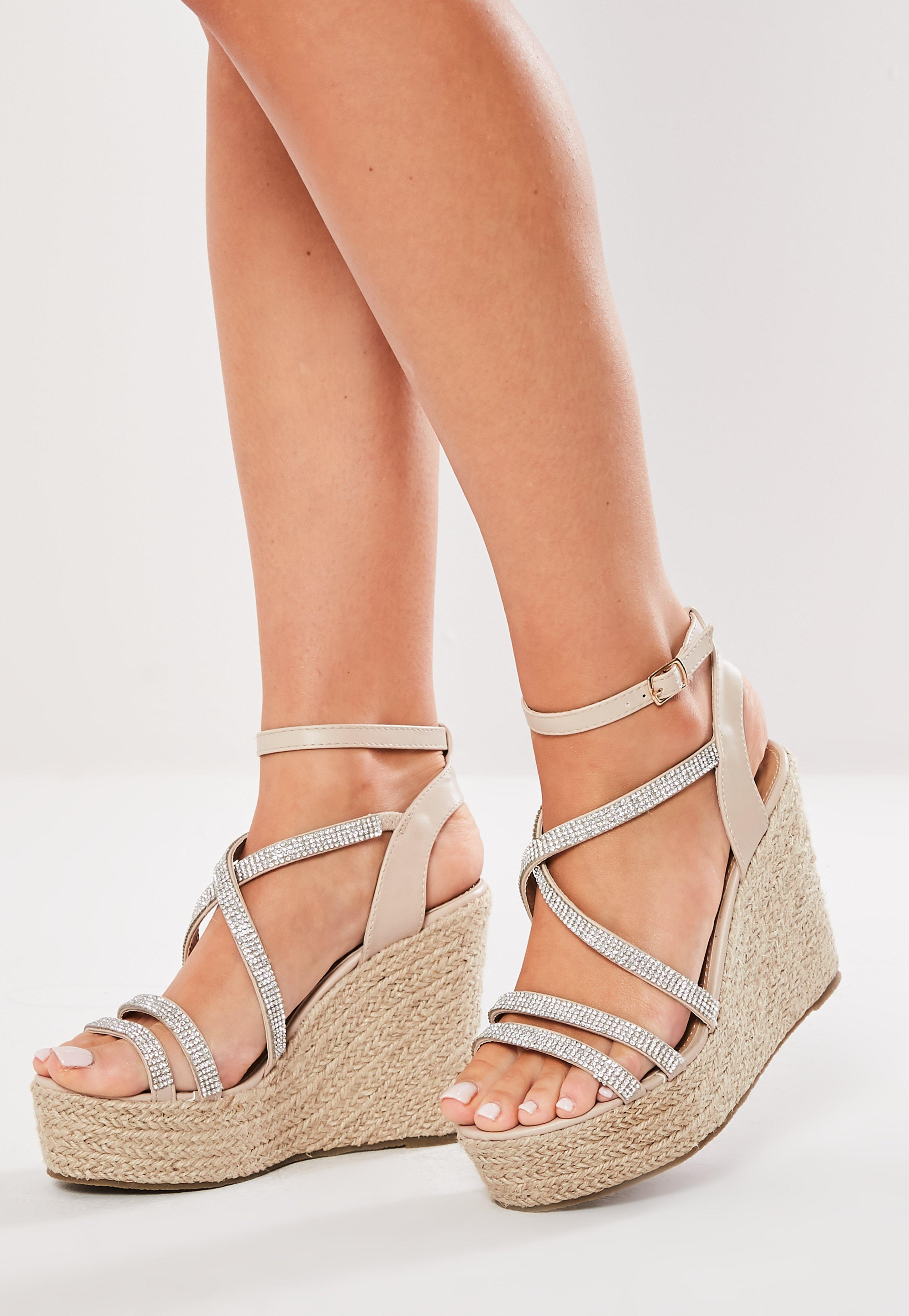 050a04acb8 Nude Diamante Trim Wedge Sandals | Missguided