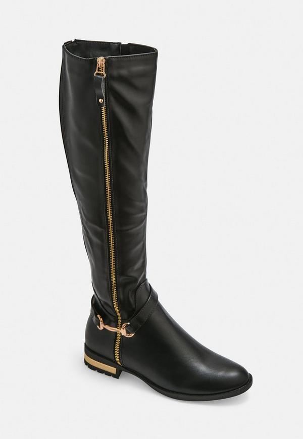 affd49befcd Black Buckle Detail Faux Leather Knee High Boots