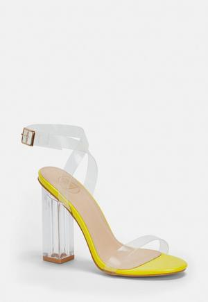 25790033d £35.00. neon yellow clear heeled sandals