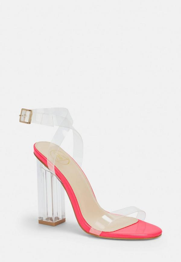 bab8d4017b4c Neon Pink Clear Heeled Sandals