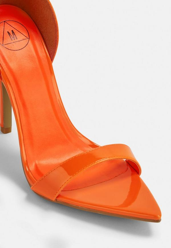 dc461ece57cd ... Neon Orange Pointed Barely There Heels. Previous Next