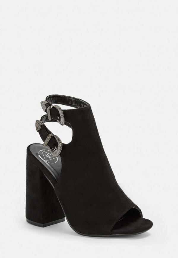 Black Sling Back Heeled Sandals by Missguided