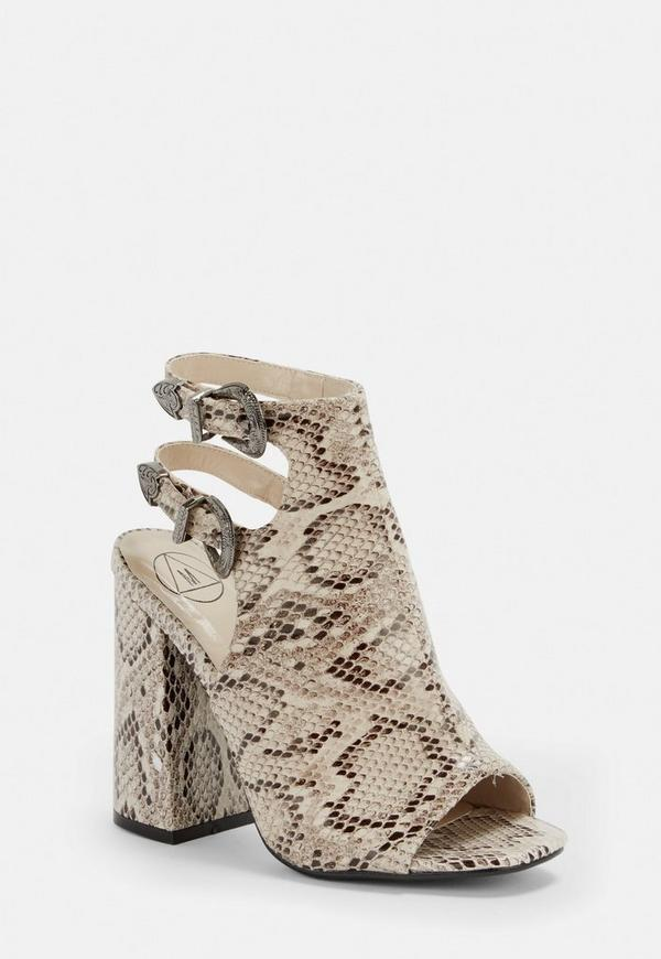 Nude Snake Print Sling Back Heeled Sandals by Missguided