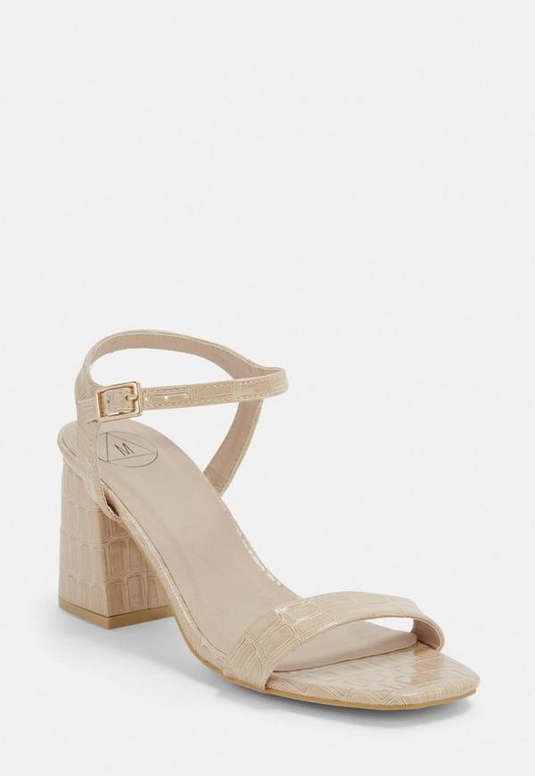 1c945499ee9 ... Nude Croc Patent Mid Heel Sandals. Previous Next