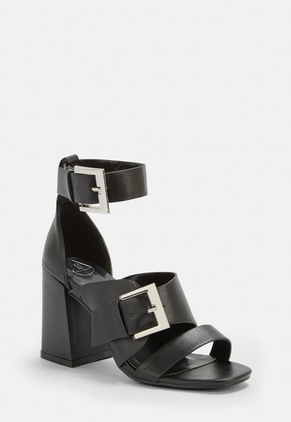 c6c55b3e18879 Black Buckle Strap Block Heel Sandals. Previous Next