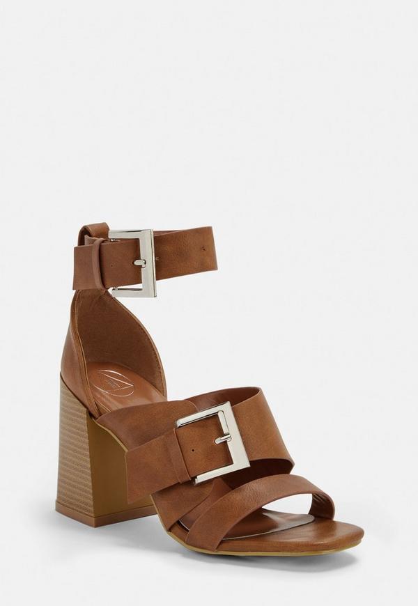 b75d17e62522 Tan Buckle Strap Block Heel Sandals