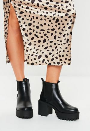 5fba6015d5e7 Black Croc Chunky Chelsea Ankle Boot