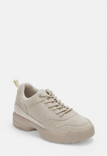 Nude Faux Suede Chunky Trainers by Missguided