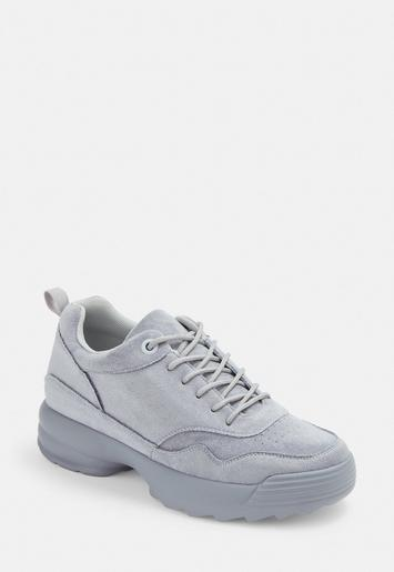 Blue Faux Suede Chunky Trainers by Missguided