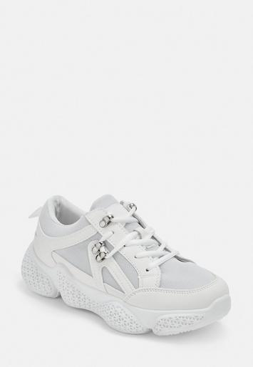 White Bubble Sole Hiking Detail Trainers by Missguided