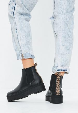 ecd3064355bb £38.00. black leopard chunky sole chelsea ankle .