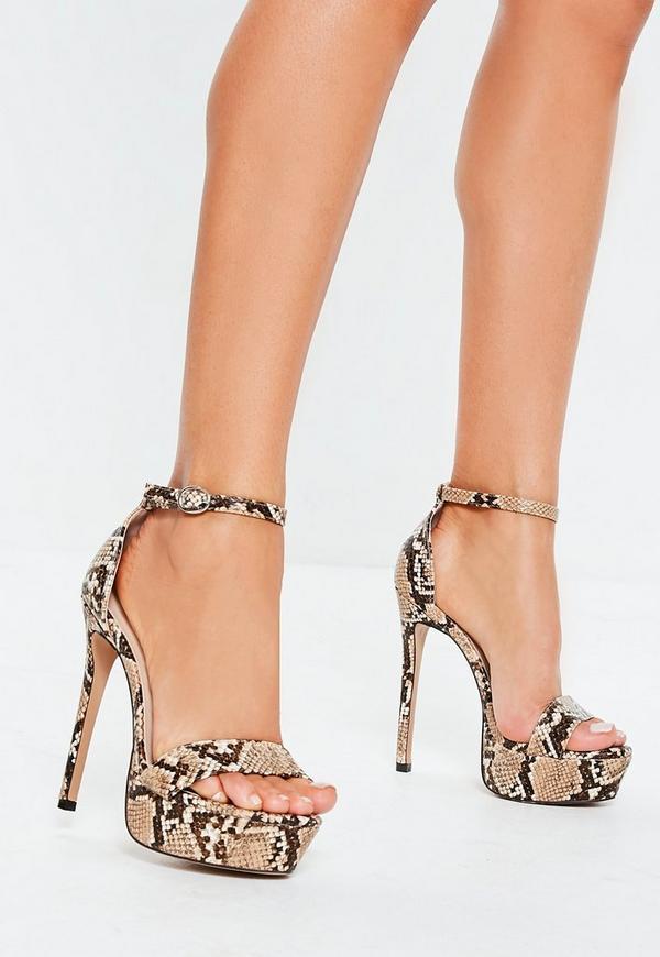 7e228969295 Beige Snake Print Platform Heeled Sandals