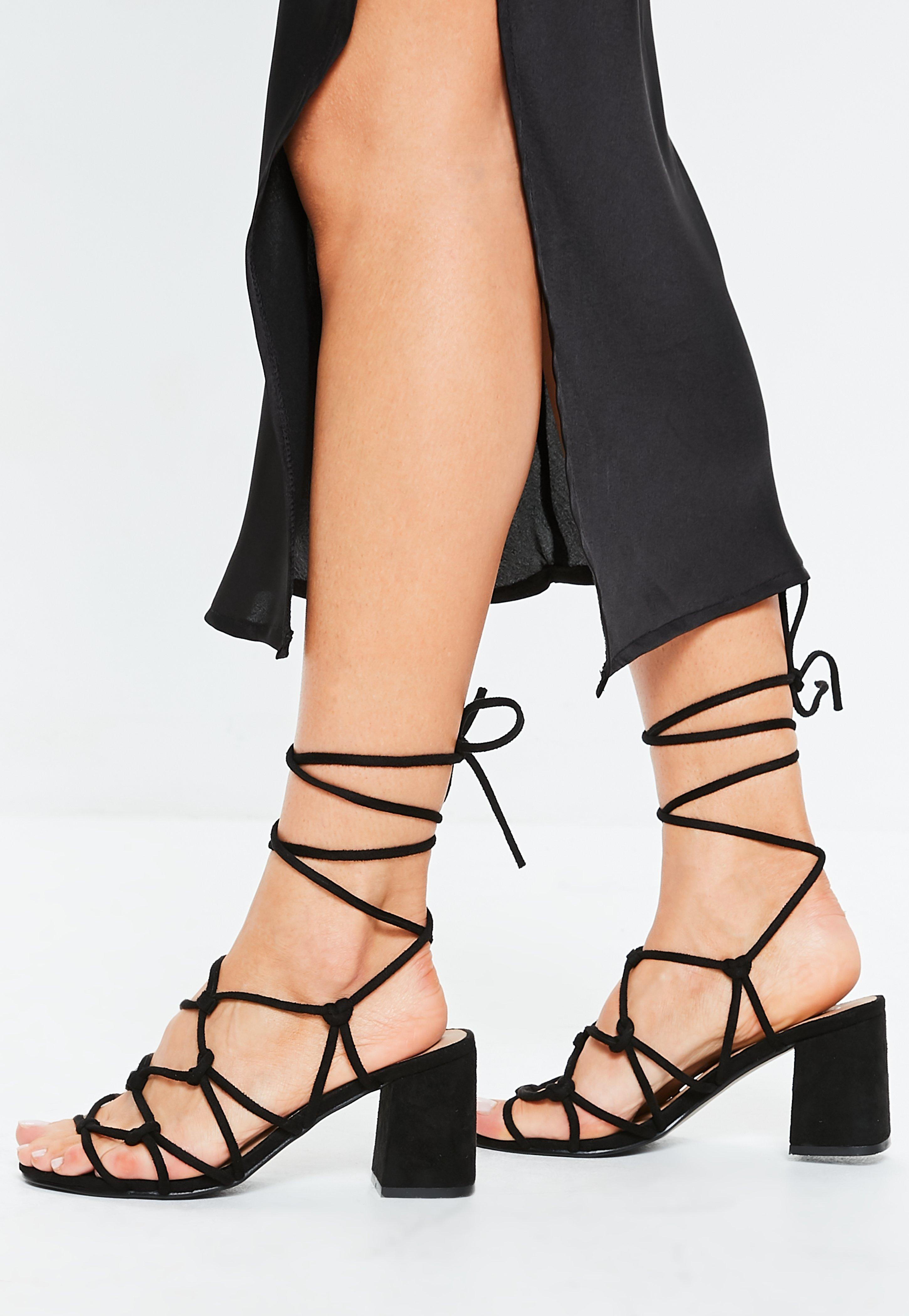 c7e74526392 Black Knotted Tie Up Sandals