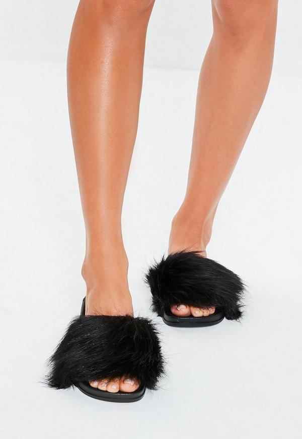 49701b906d4a Black Faux Fur Fluffy Sliders. Previous Next