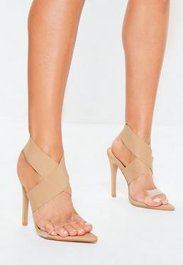54cf4bf67803 Nude Heels. Block Heel Sandals. Black Barely There Heels
