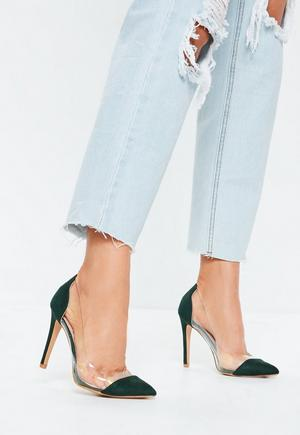 540ab25fb6f £27.00. green covered toe clear court heels
