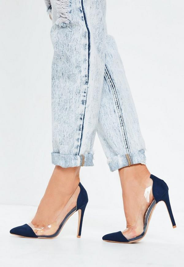 c540b7be2c7 Blue Covered Toe Clear Court Heels