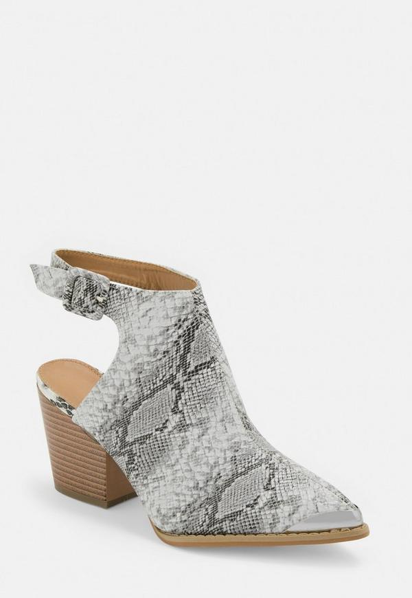 Grey Snake Open Back Metal Cap Boots by Missguided