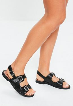caecd31d6be Peace + Love Black Studded Clear Strap Heeled Sandals