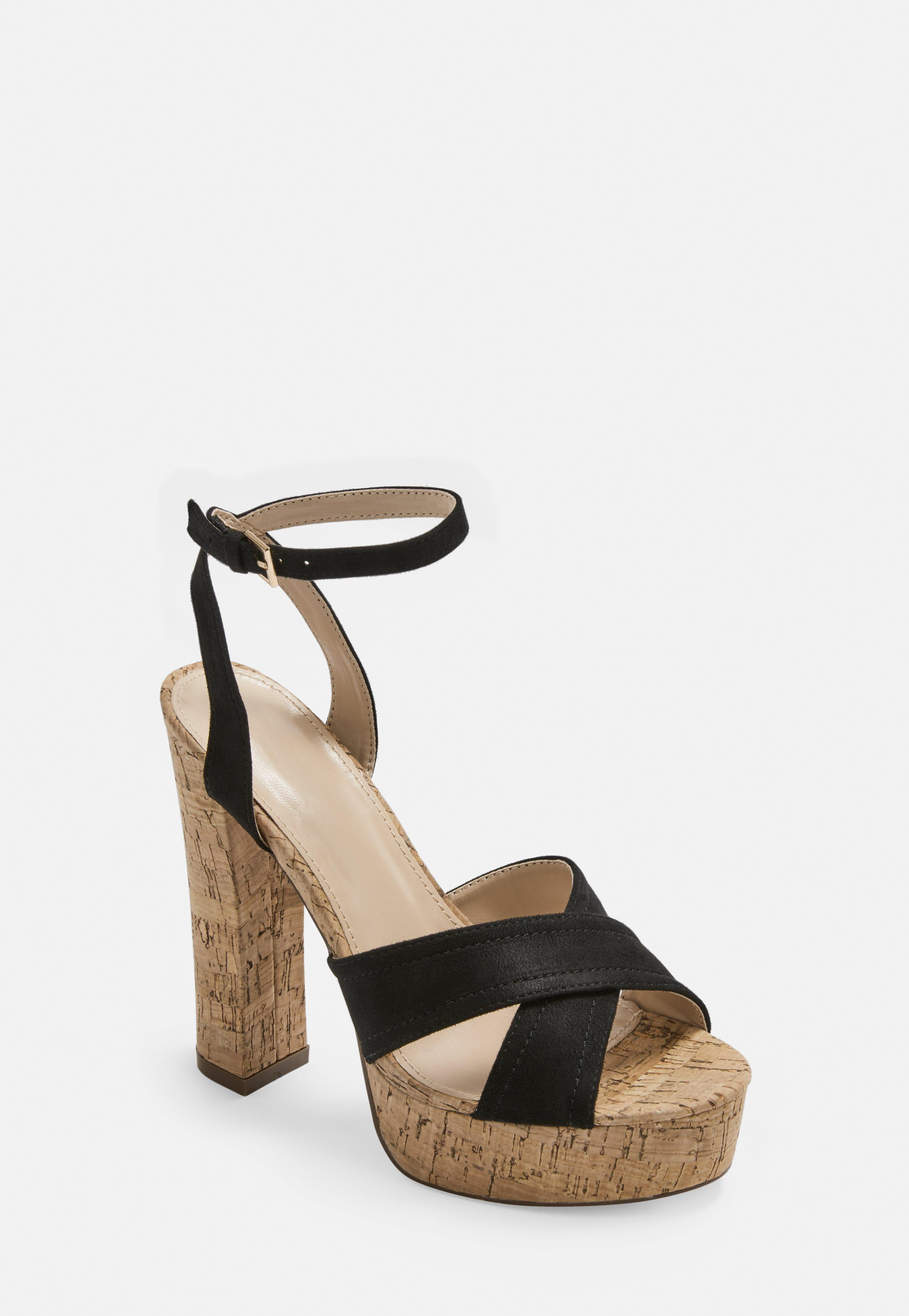 Black Heeled Cross Sandals Over Platform 4Rj53SLcAq