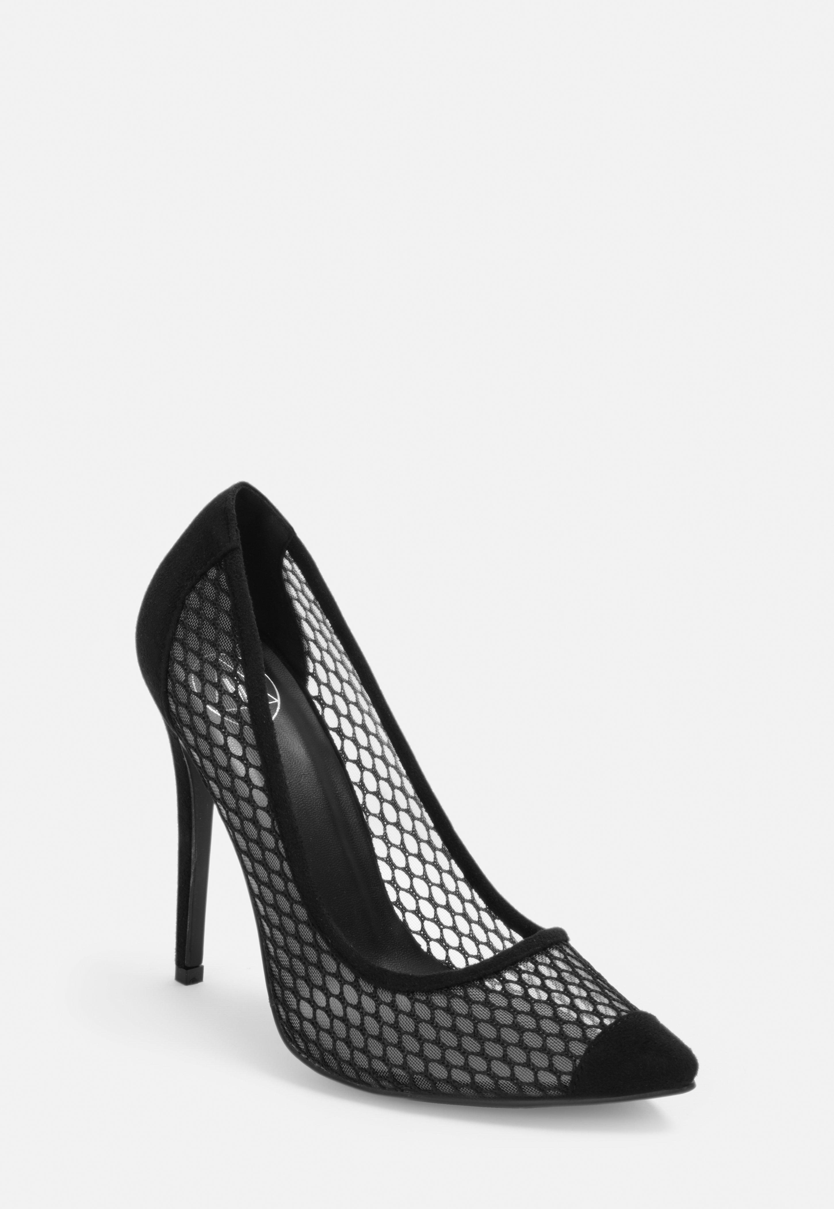 exquisite style choose official up-to-date styling Black Fishnet Court Heels