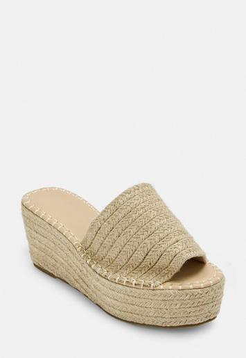 Nude Raffia Platform Mules by Missguided