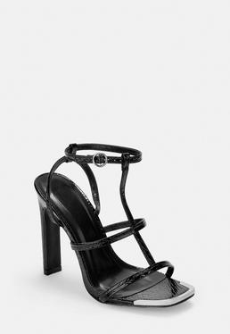 Черные лакированные босоножки на каблуке в металлическом крокодиловом каблуке