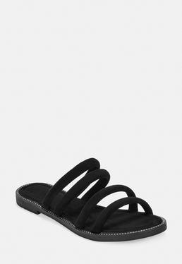 Черный мульти ремень ремень сандалии