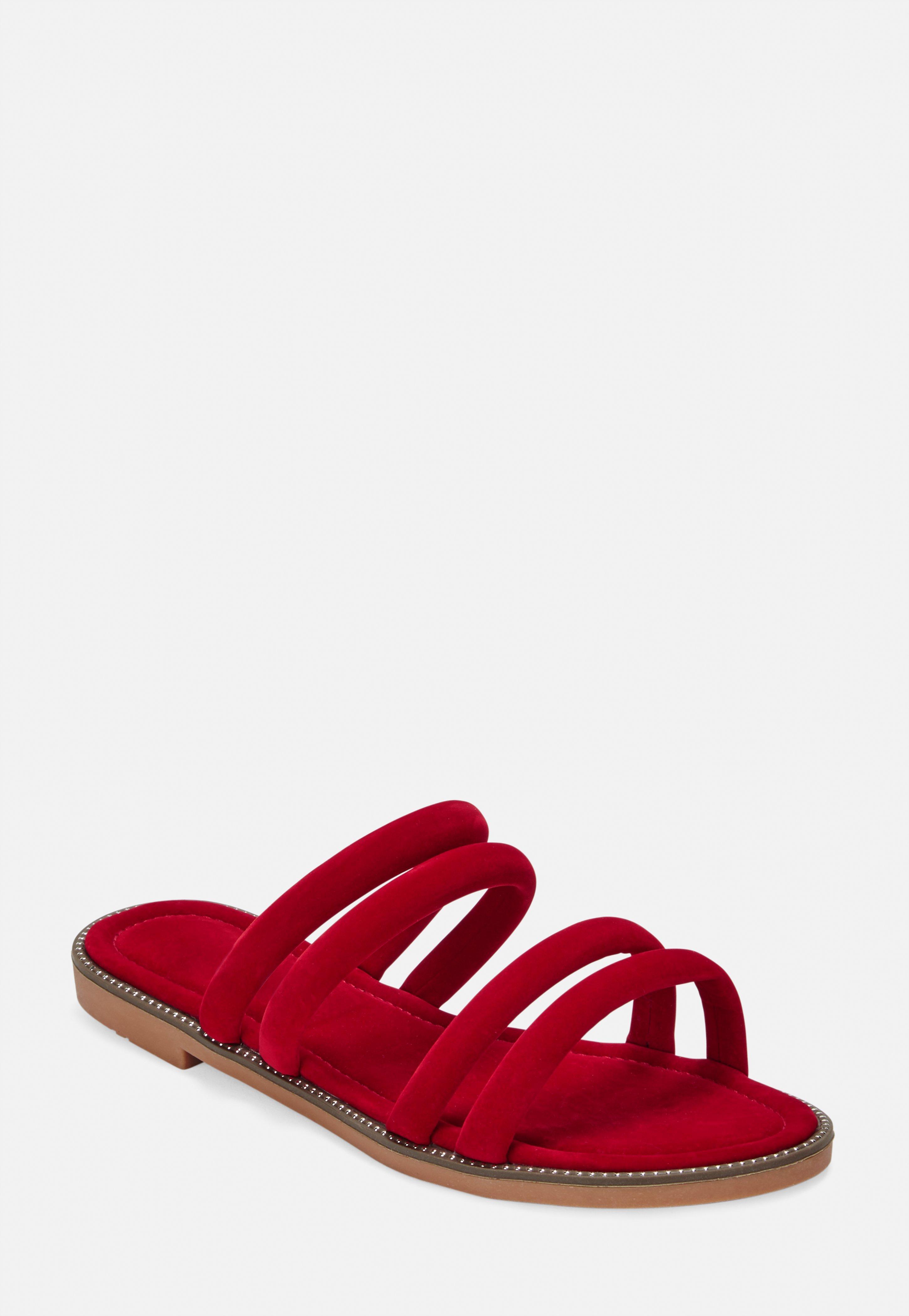 c03ba260be8 Red Multi Strap Slip On Sandals