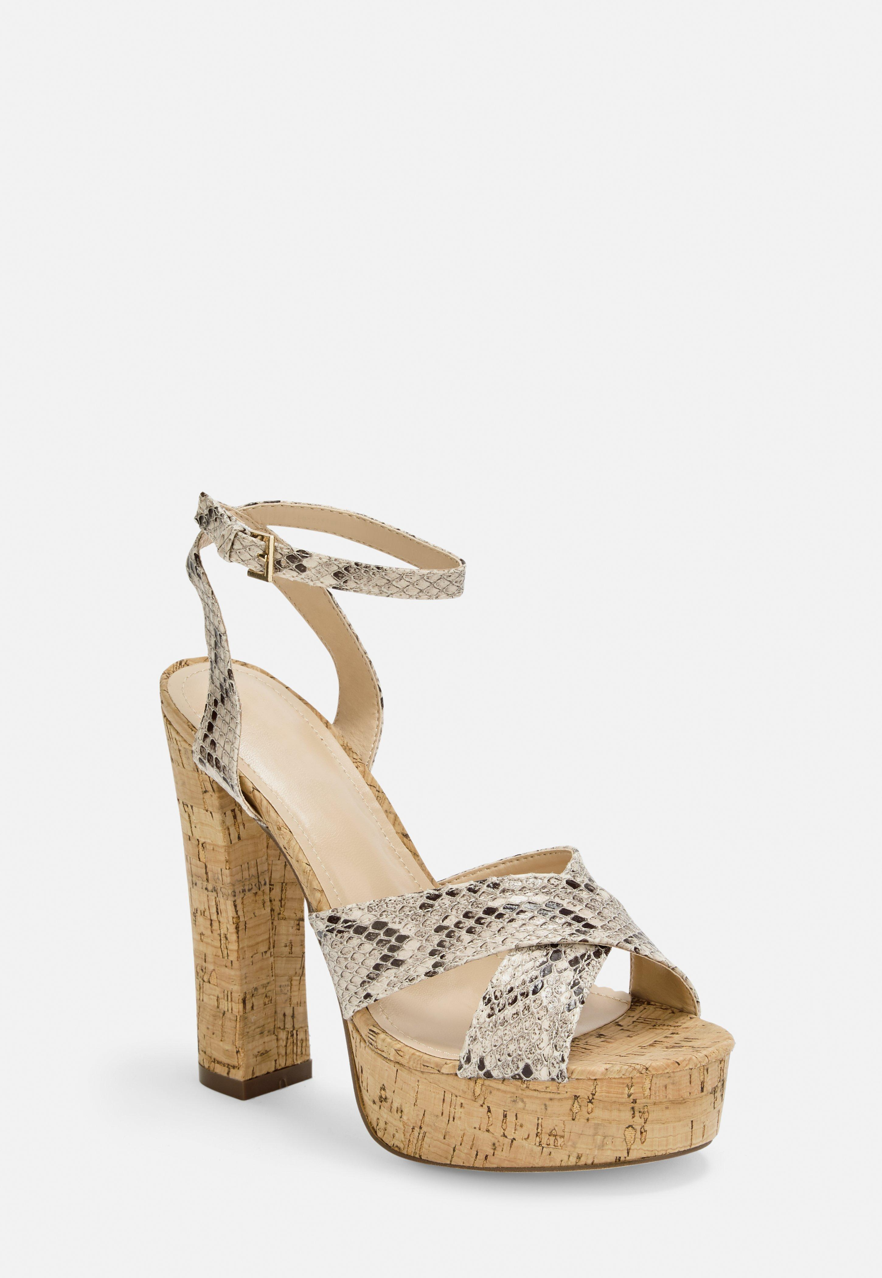Heeled Cross Sandals Print Snake Over Nude Platform gvIbfm6yY7