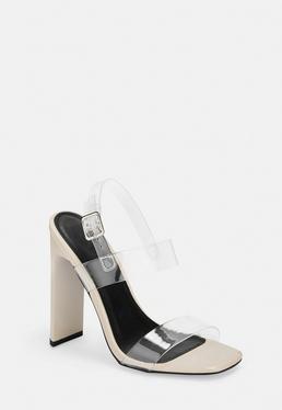 Обнаженные босоножки на каблуке с пряжкой