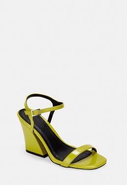 Желтые лакированные босоножки на каблуке