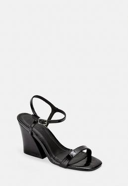 Черные лакированные босоножки на каблуке из искусственной кожи Croc