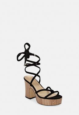 Черные искусственные замшевые деревянные туфли на каблуке