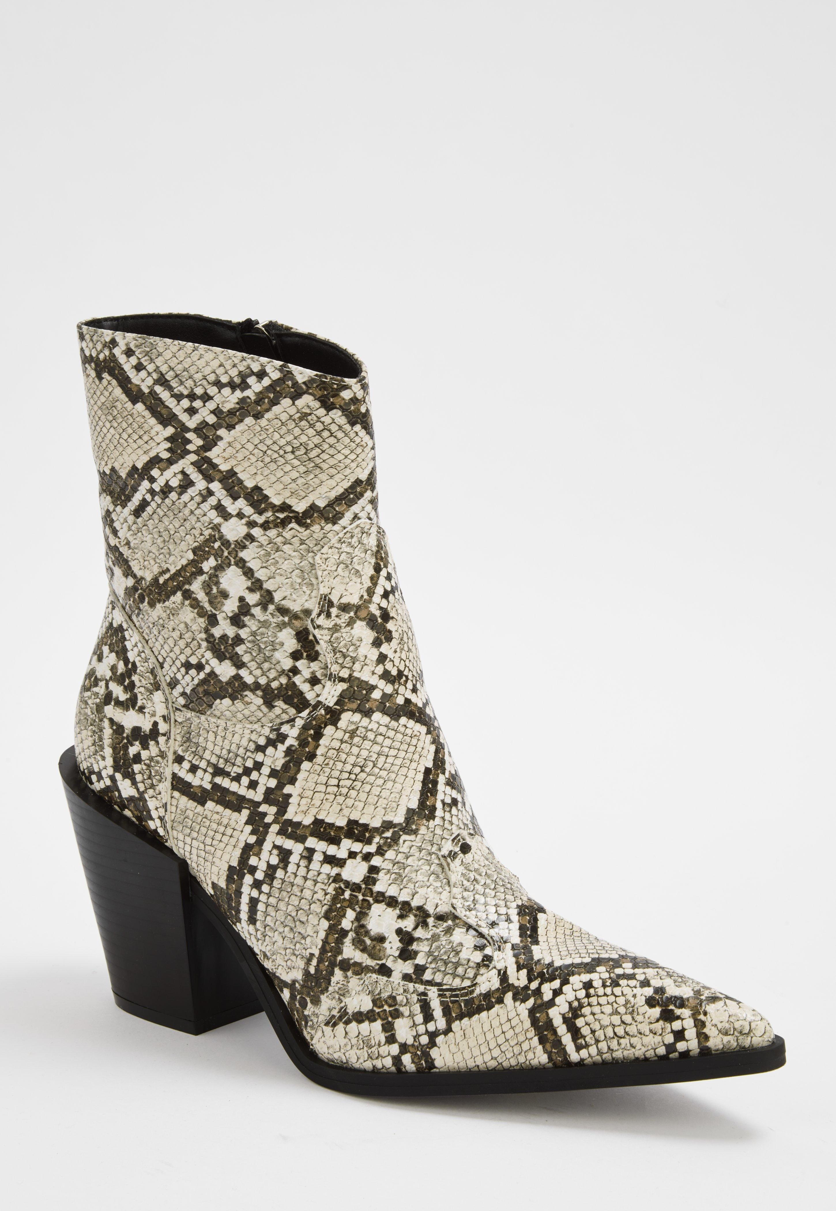 852f1fbeb01 Nude Snake Print Western Boots
