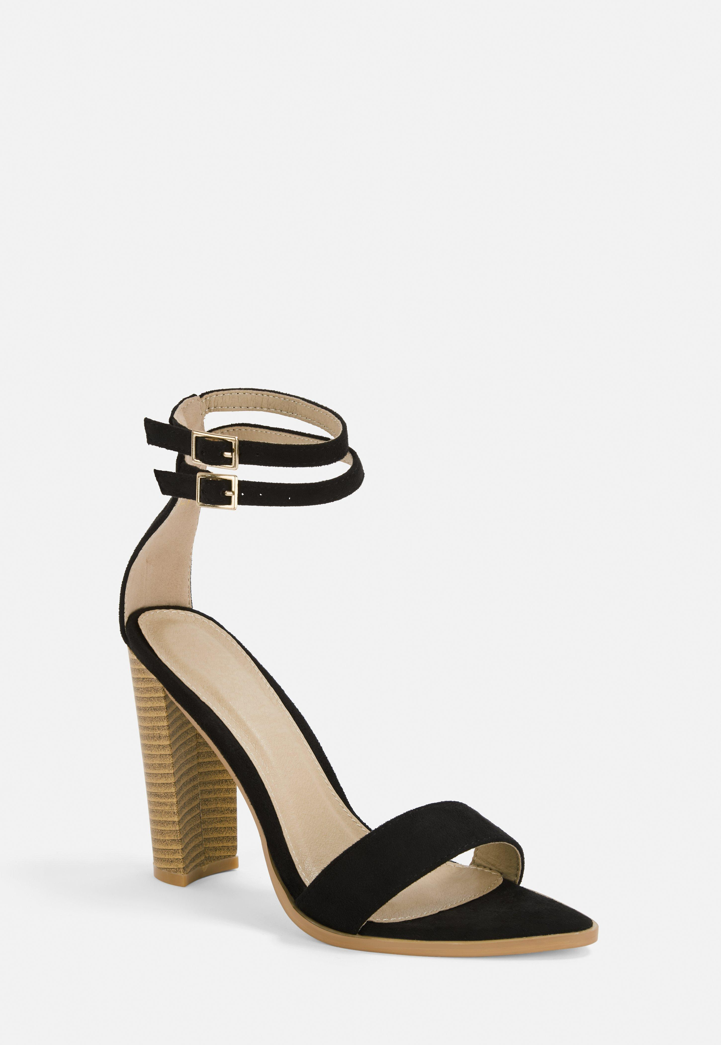 f279f0a2e03 Black Double Strap Pointed Toe Barely There Heels