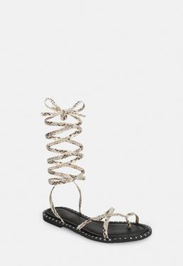 Сандалии Nude со змеями на шнуровке
