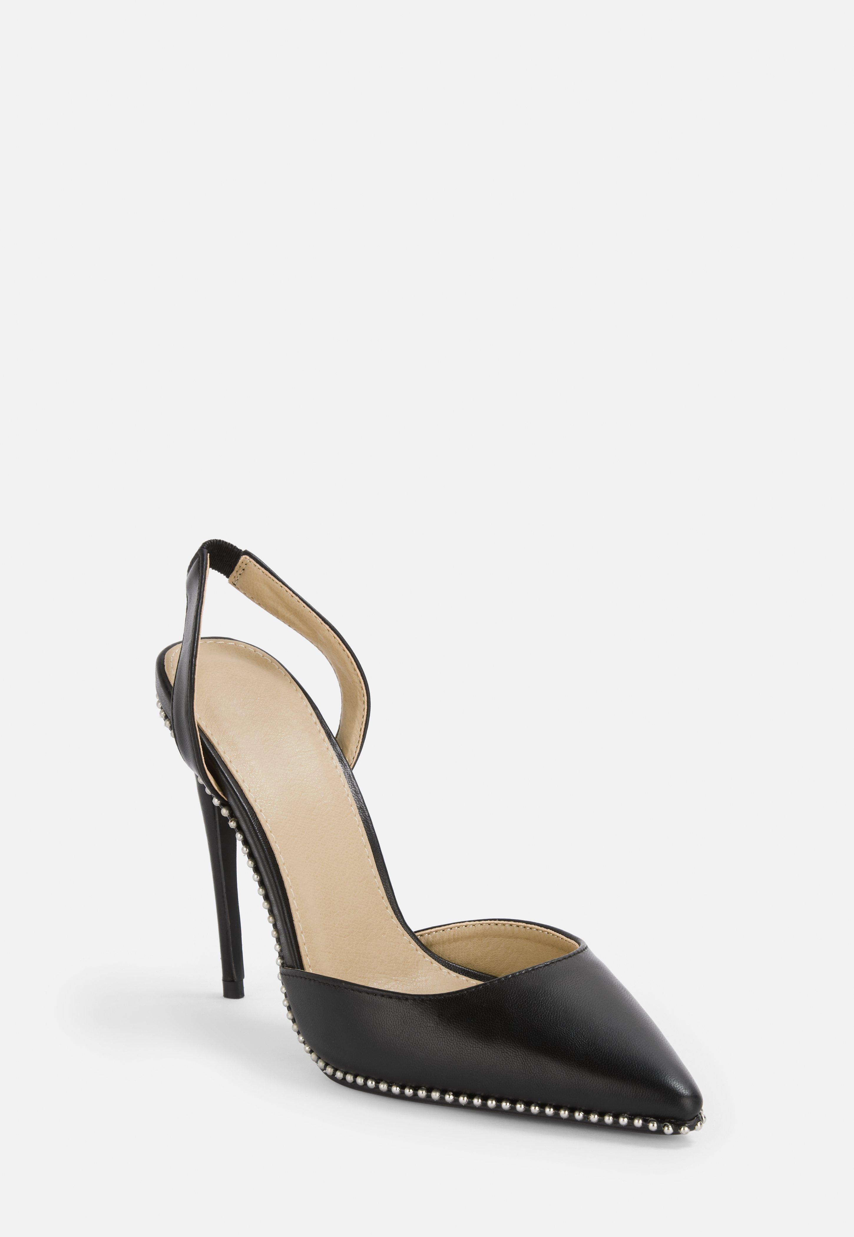 913a7c8fa87 Black Ball Trim Slingback Court Heels