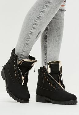 Black Faux Fur Lining Boots