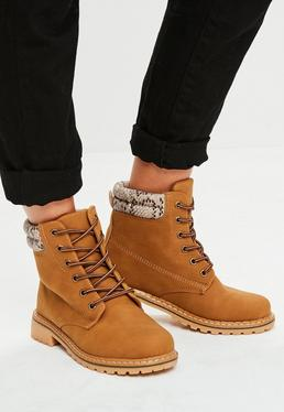 Brown Contrasting Snake Print Trucker Boots