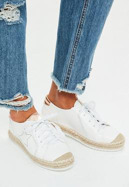 White Star Detail Jute Trainers