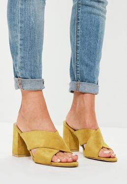 Yellow Cross Over Suedette Block Heels
