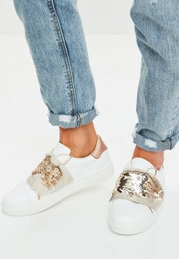 White Sequin Trainers