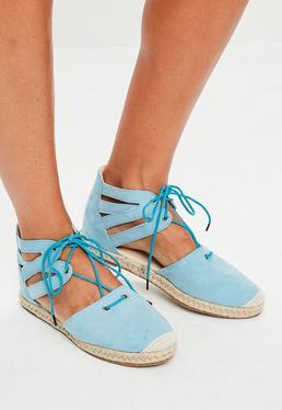 Espadrilles bleues à lacets